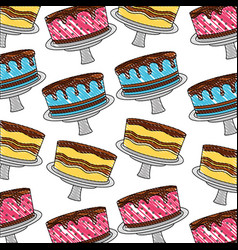 birthday cake sweet delicious food dessert pattern vector image