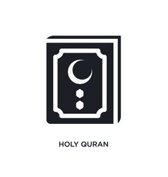 Black holy quran isolated icon simple element vector