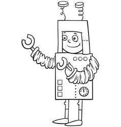 boy in robot costume at halloween party coloring vector image
