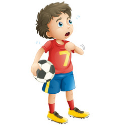 Boy playing soccer football looking tired vector