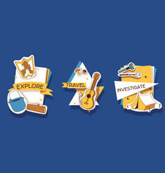camping stickers explore vector image