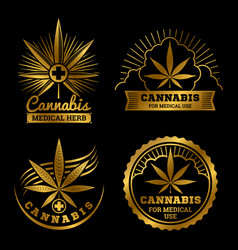 Cannabis banners or labels design medical logos vector