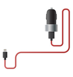 Car charger for smartphone isolated vector