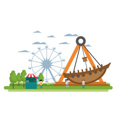 Carnival shop with children and mechanical ship vector