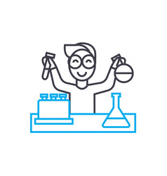 chemistry laboratory work linear icon concept vector image