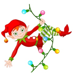 Christmas elf on garland vector