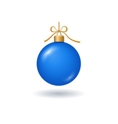 christmas tree ball with ribbon bow blue bauble vector image