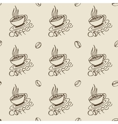 Coffee Cups and Beans Seamless Pattern vector image