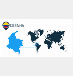 Colombia map located on a world map with flag and vector