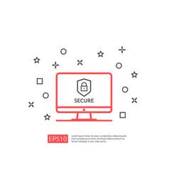 Computer shield line icon privacy data protection vector