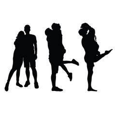 Couples black silhouette vector