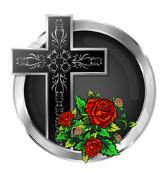 cross with roses in a circle vector image