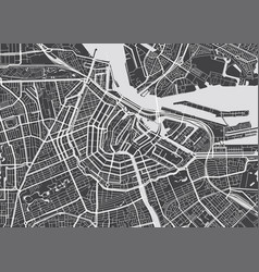 Detailed map amsterdam vector