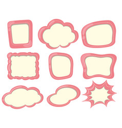 different shapes of labels in pink vector image