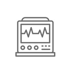 Ekg machine with pulse icu monitor vector