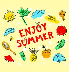 enjoy summer lettering summer set doodle vector image