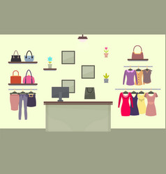 Fashion shop with womens clothes and accessories vector