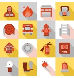 Fire Station Long Shadow Flat Icons vector