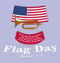 Flag day card poster for june 14 birthday of vector