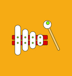 Flat icon design collection kids toy xylophone vector