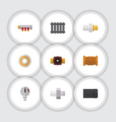 Flat icon pipeline set of tube industry tap and vector