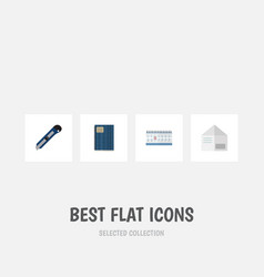 Flat icon tool set of date block knife letter vector