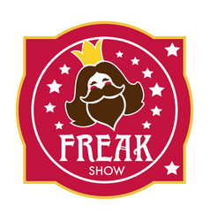 Freak show icon with bearded lady head and stars vector