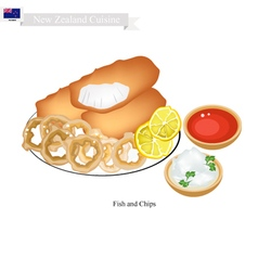 Fried Fish with Onion Ring of New Zealand vector