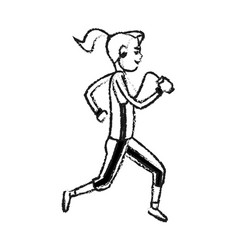 Girl running with phone and headphones icon image vector