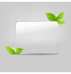 Glass Frame With Leafs vector image