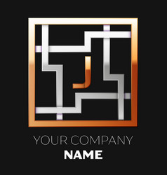Golden letter j logo symbol in the square maze vector