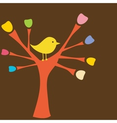 Greeting card with bird on tree branch vector image
