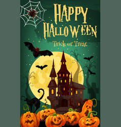 halloween horror house and pumpkin greeting card vector image