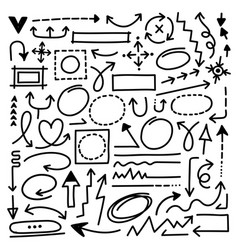 hand drawn arrow marks set vector image