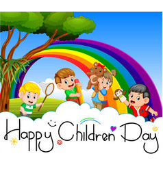 Happy children day poster with happy kids playing vector
