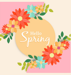 Hello spring greeting card label for flower season vector