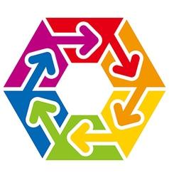 hexagon arrow colorful space rainbow design vector image