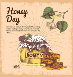 honey day hand drawn design vector image