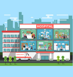 Hospital rooms with medical personnels doctors vector