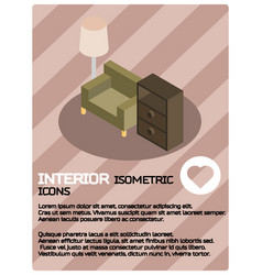 Interior color isometric poster vector
