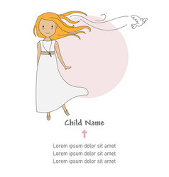 Invitation my first communion girl vector