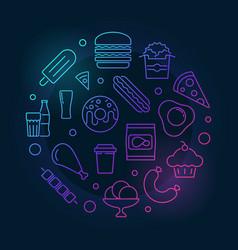 Junk food circular colored vector