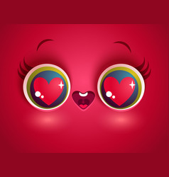 kawaii face with eyes and heart vector image