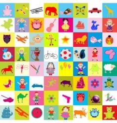 kid elements pattern vector image vector image