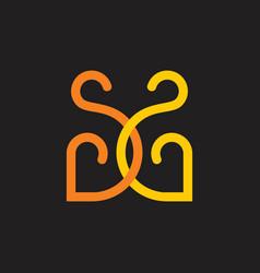 letters ss linked curves line loop design logo vector image
