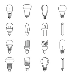 Light bulb icons set outline style vector image