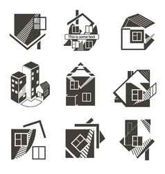 logos in the form of houses vector image