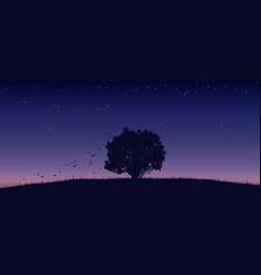 Lonely tree on field vector