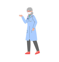 male doctor character in white gown and protective vector image