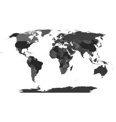 map of world in shades of gray vector image